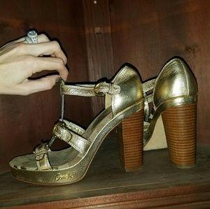 Coach Joanne Gold Chunky Heel Monogram Sandals 7